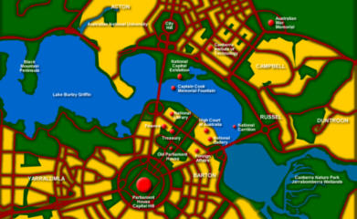 Canberra tourist map - Click to ZOOM