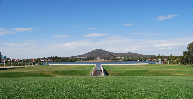 One of Canberra's more unusual Bicycle Paths, with the Australian War Memorial in the Distance