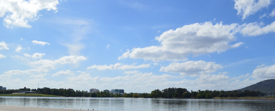 Lake Burley Griffin looking North. War Memorial on the right and the National Capital Exhibition on the left