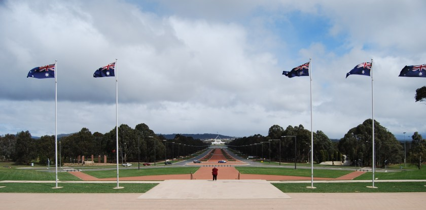 Exploring Canberra: View towards Parliament House of Australia