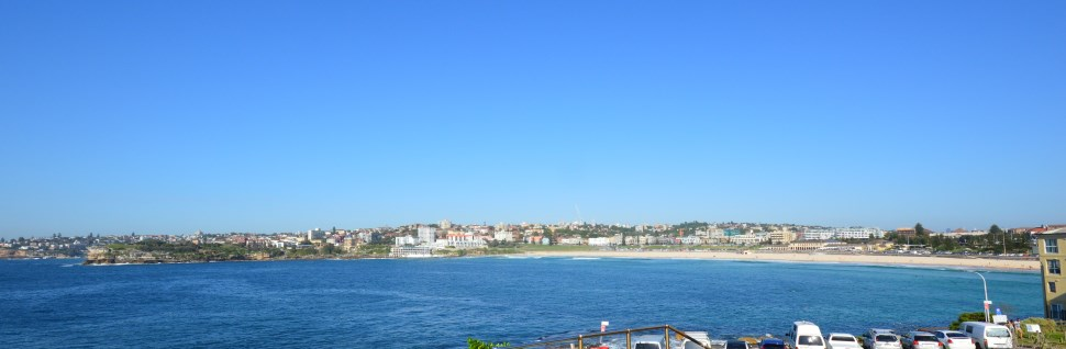 Wide south angle view of the Beach at Bondi, further along are more Beaches