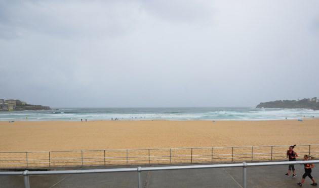 Even on a Stormy Day Bondi Beach attracts Visitors
