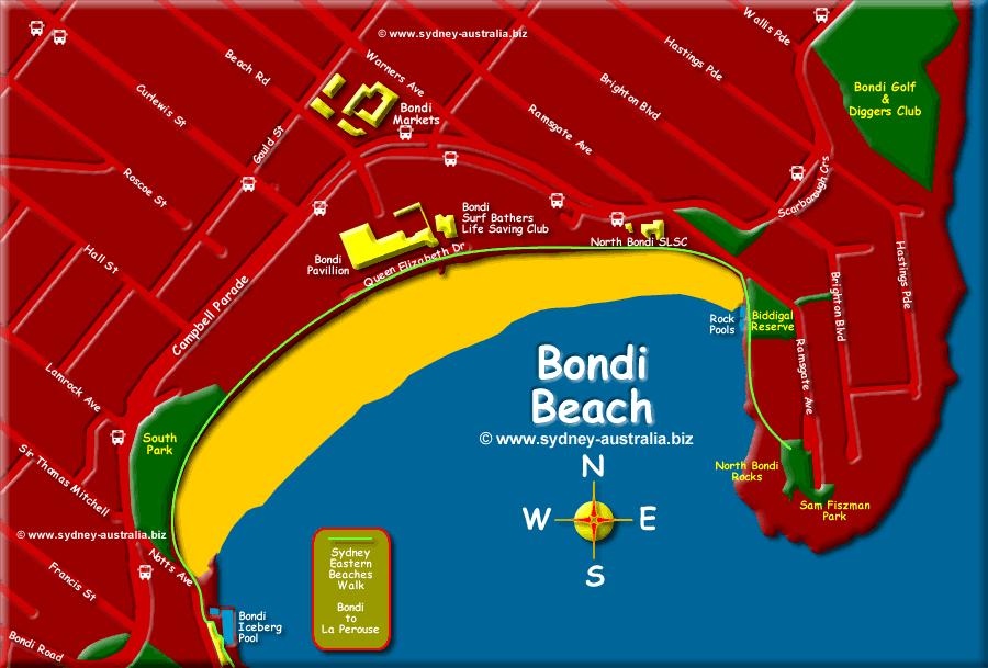 Bondi Beach Map © www.sydney-australia.biz