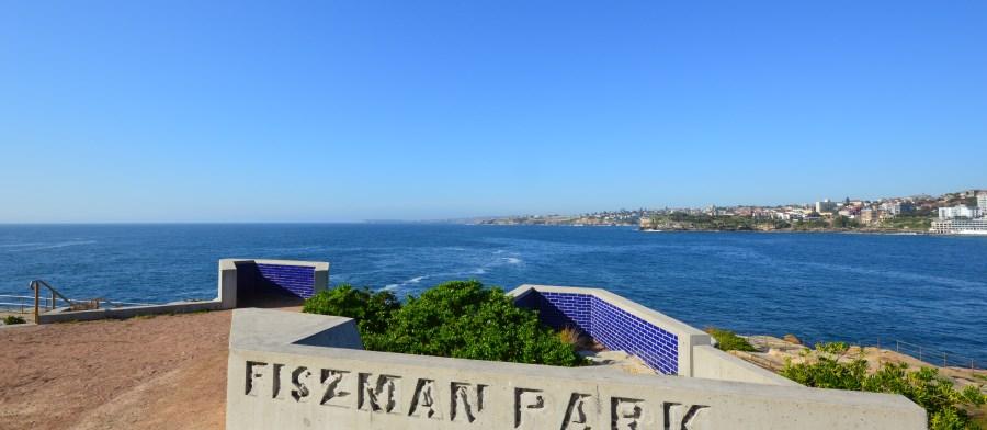 Bondi Beach Parks: Fitzman and the coast showing the coastal Eastern Beaches Walk.