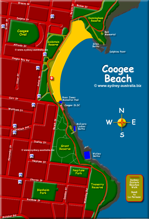 Coogee Beach Map with Places to Visit © www.sydney-australia.biz