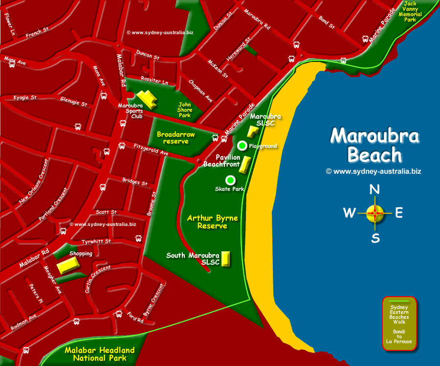 Map showing Marboubra Beach in Sydney Australia © www.sydney-australia.biz