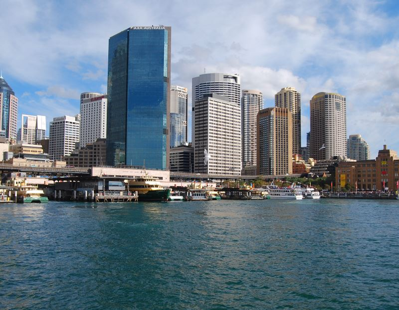 The south-east corner of Circular Quay at the foot of the City. Here there are trains, ferries, buses and taxis.