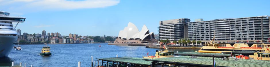 The Sydney Opera House as seen from Circular Quay. Plenty of Activity on the Water as well.