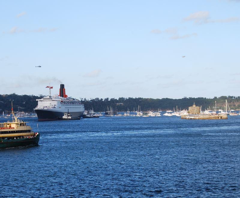 Queen Elizabeth 2 on Sydney Harbour on her last Voyage. Photo: S. Oost