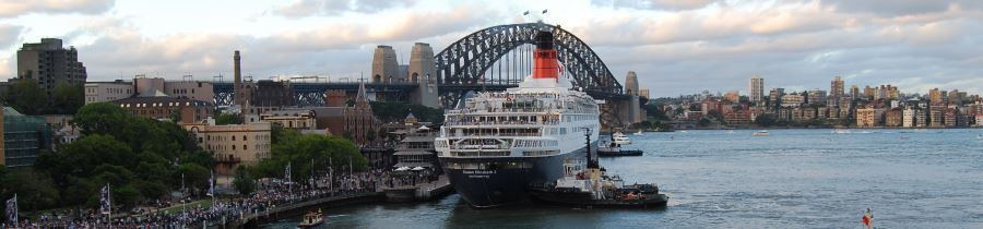 The Queen Elizabeth II Cruise Liner berthed at Sydney Cove.