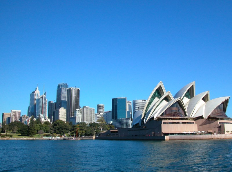 The Sydney Opera House and the City. On the left is the Royal Botanic Garden.