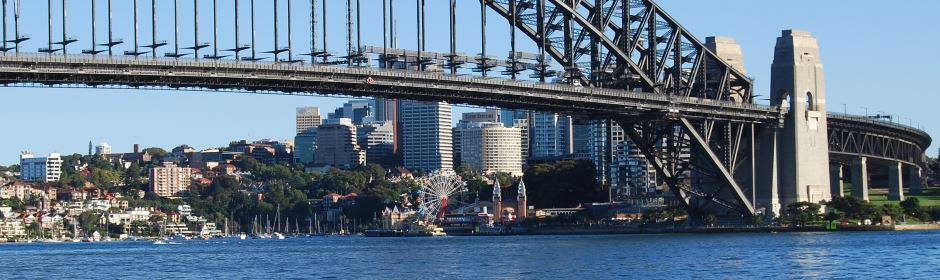 View from the Sydney Opera House, Luna Park under the Bridge