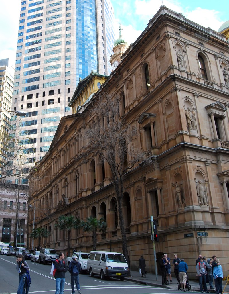 The old Colonial Secretary's Government Building on the Corner of Bridge and Loftus Streets.
