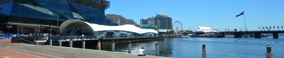 Darling Harbour Attractions: Sydney Pavillion on the left, National Maritime Museum in the Center