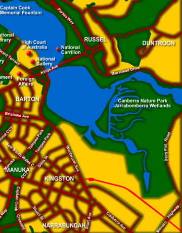 Canberra Tourist Map Attractions ACT