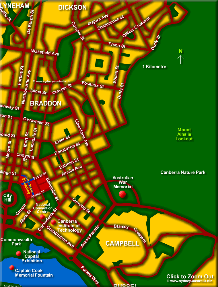 Map of North East Canberra. Australian Capital Territory - Click to Zoom Out