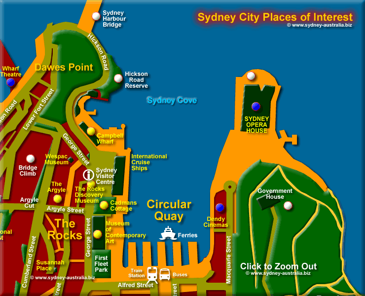 The Rocks, Sydney Cove and Circular Quay - Click to Zoom Out © www.sydney-australia.biz