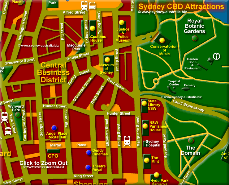 Attractions in the CBD - Click to Zoom Out © www.sydney-australia.biz