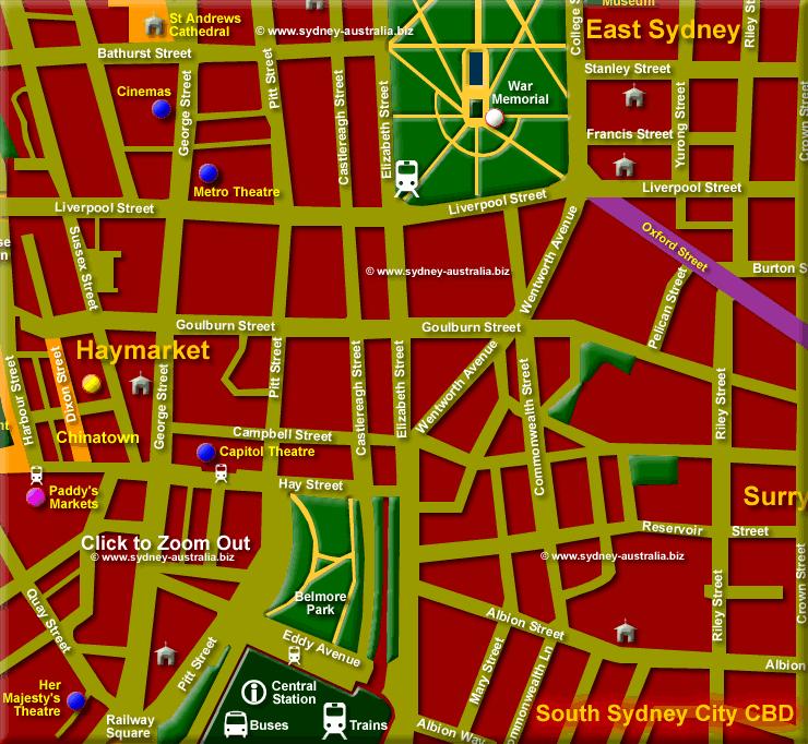 City center south - Click to Zoom Out © www.sydney-australia.biz