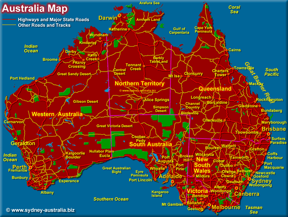 Australiamap: Map Of The Australia At Infoasik.co