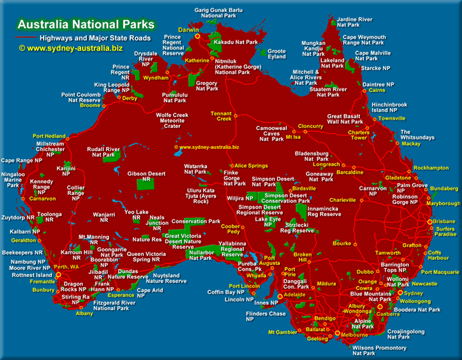 Australia National Parks Map