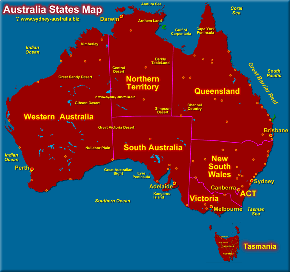 Territories and States of Australia - Click to see the National Parks Map
