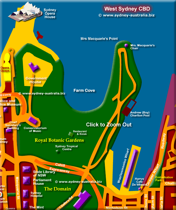 Map of Sydney CBD - Click to Zoom Out © www.sydney-australia.biz