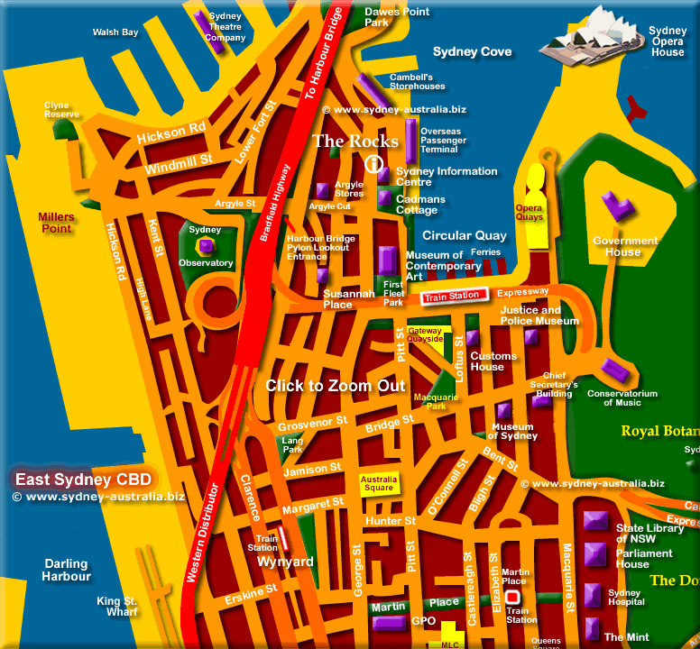 Map of Sydney - Click to Zoom Out © www.sydney-australia.biz