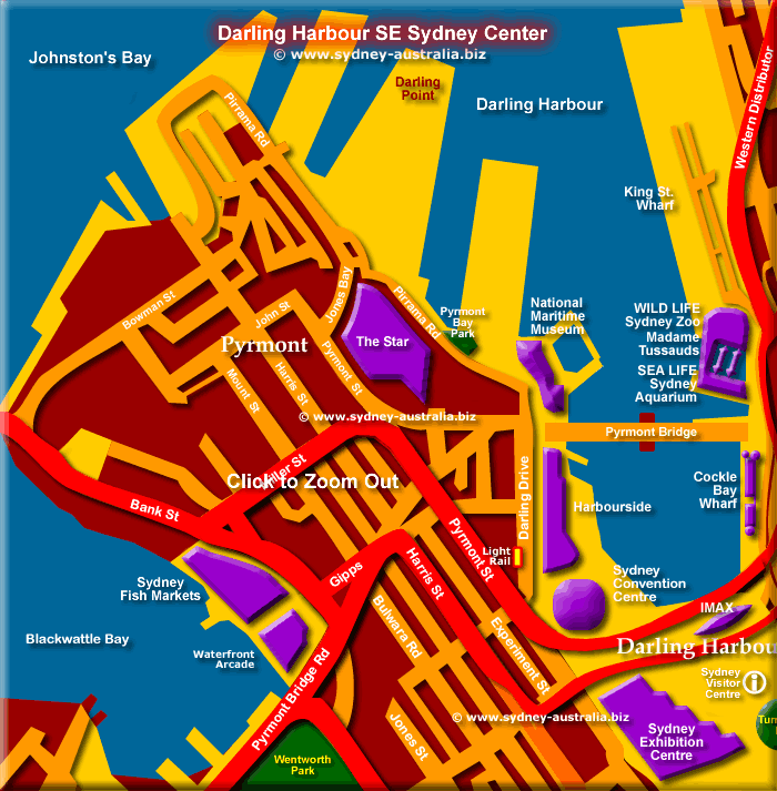 Map of Pyrmont and Entrance to Darling Harbour - Click to Zoom Out © www.sydney-australia.biz