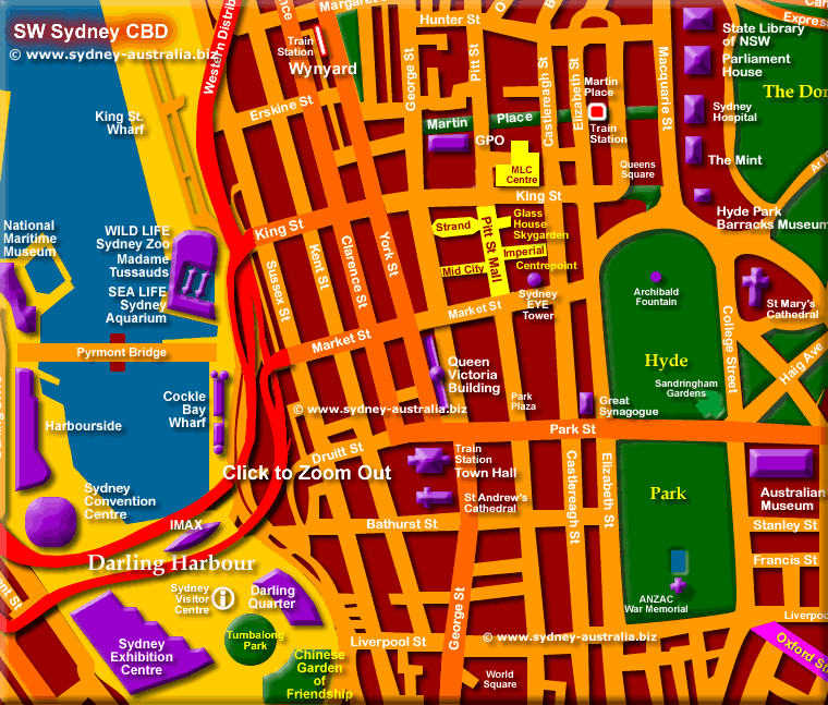 Sydney City Map – Tourist Map of Sydney