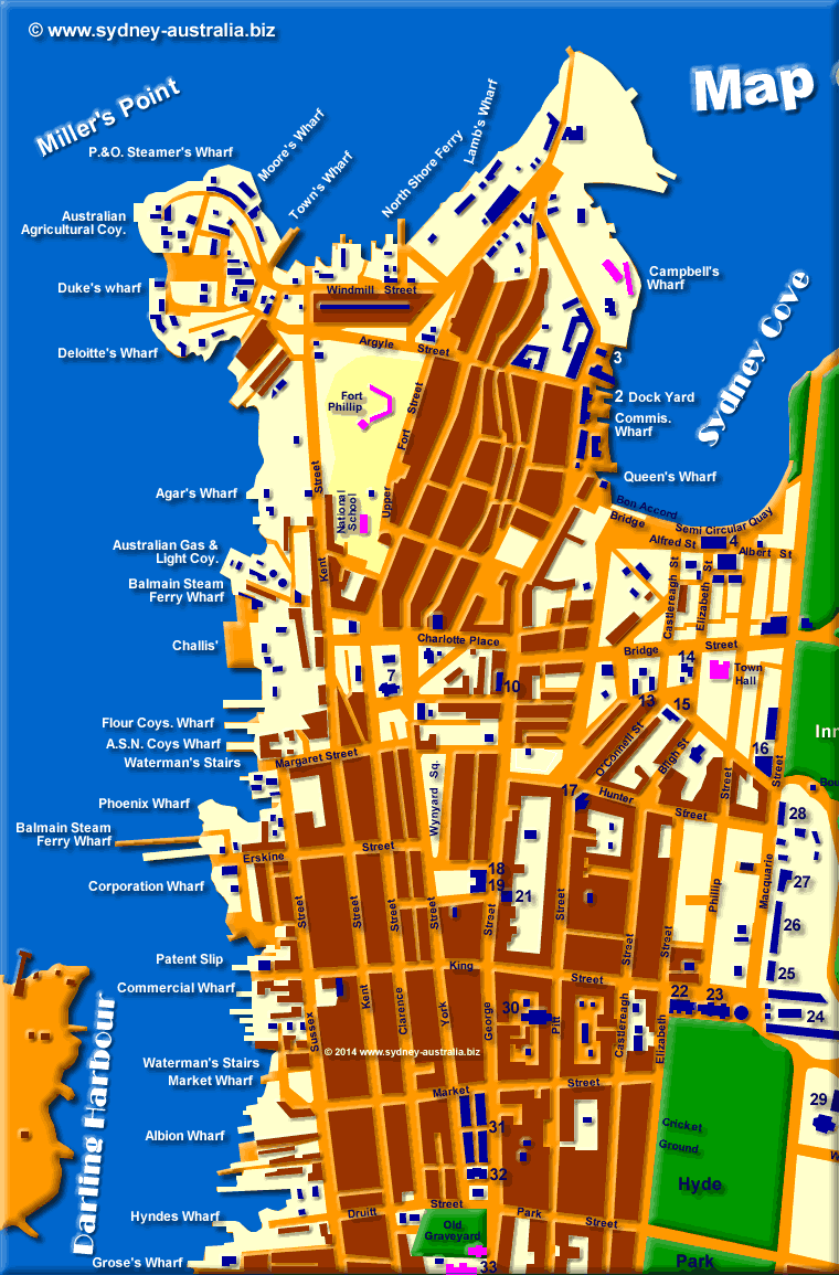 Sydney in 1855 - click to see East Sydney CBD © www.sydney-australia.biz