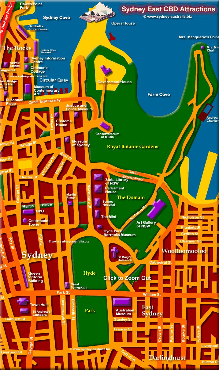 Map of Sydney Business District East - Click to Zoom Out © www.sydney-australia.biz