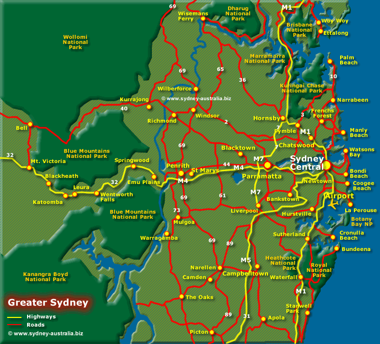 Map of Greater Sydney Surrounds – Tourist Map of Sydney
