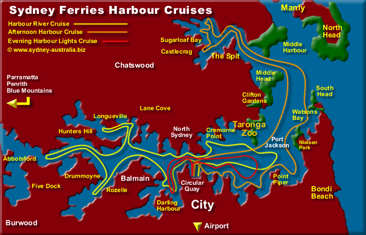 Sydney Harbour Map Info Cruises Where to Go – Sydney Tourist Map