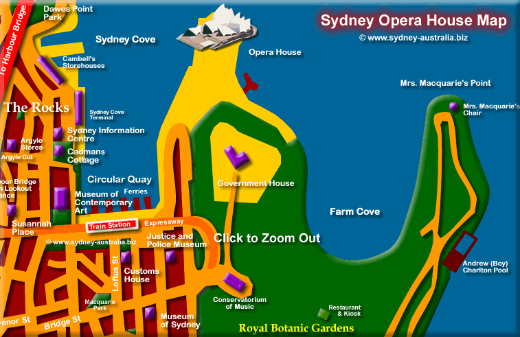 Map to the Sydney Opera House – Sydney Tourist Map