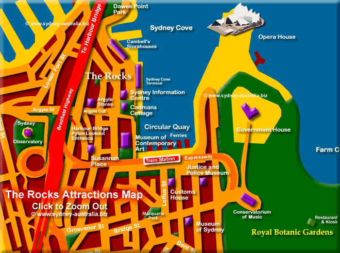 Attractions  at The Rocks (Sydney Restored Historical District) Click to Zoom Out