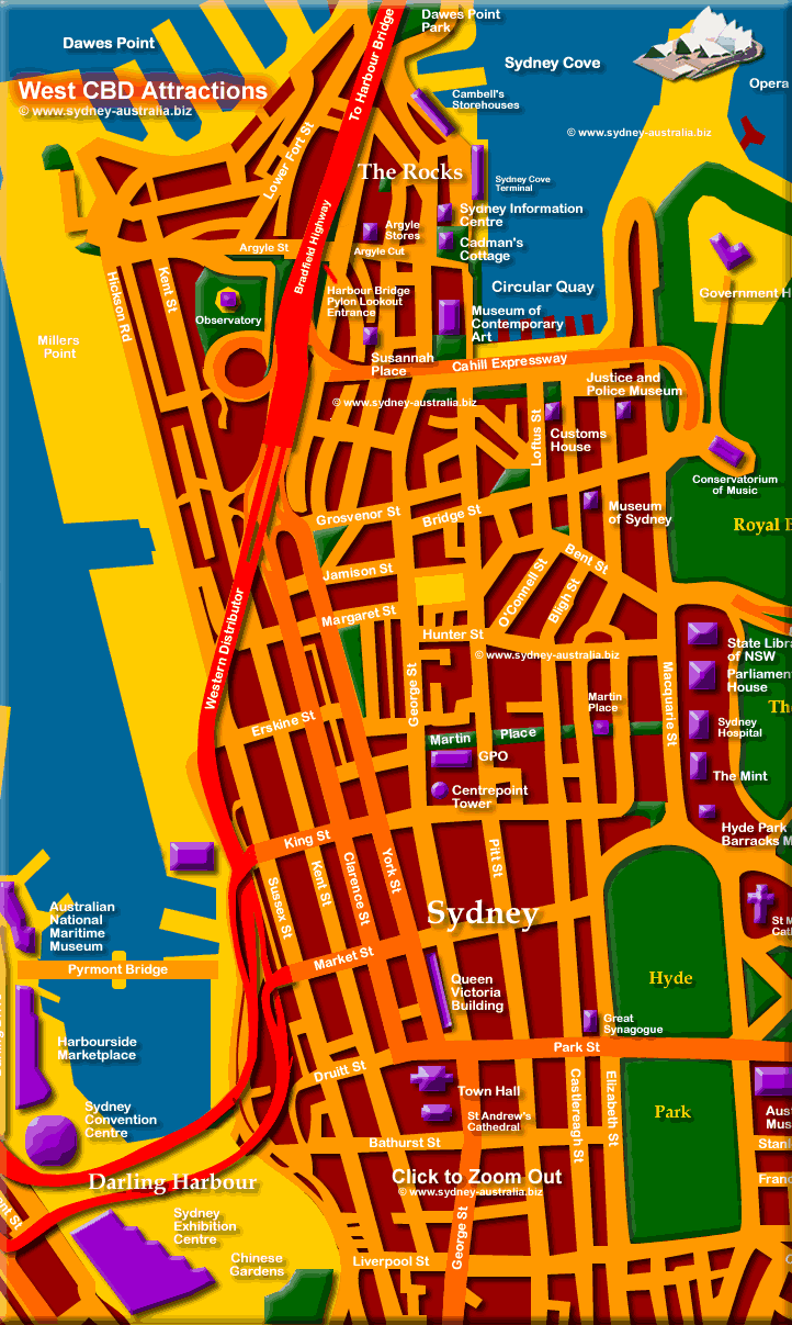 Sydney Central Business District Map - Click to Zoom Out © www.sydney-australia.biz