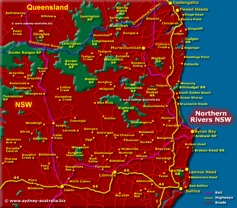 Map of the NSW Northern Rivers - Click to see More Information