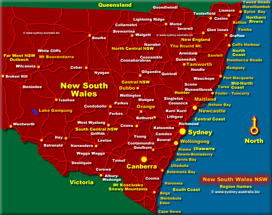 Map of New South Wales - Click to see More Information