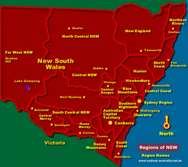 Map of the Regions of NSW - Click to see More Information