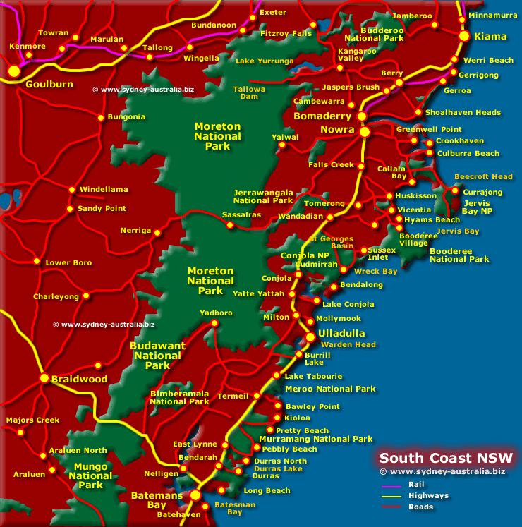 Map of the NSW South Coast - Click to see More Information