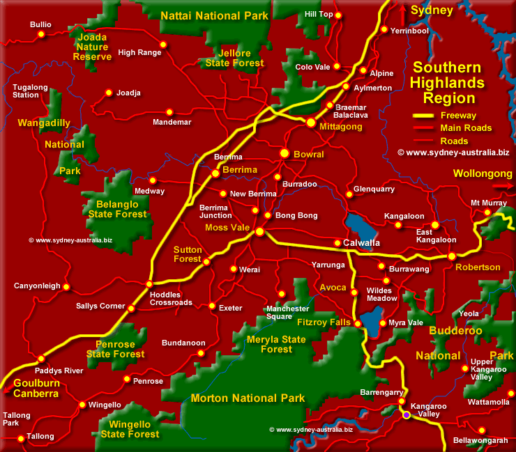 Map of the Southern Highlands - Click to see more Information