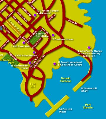 Darwin Map CBD Australia NT