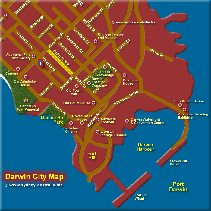 Map of Darwin Central Business District SE - Click to Zoom Out