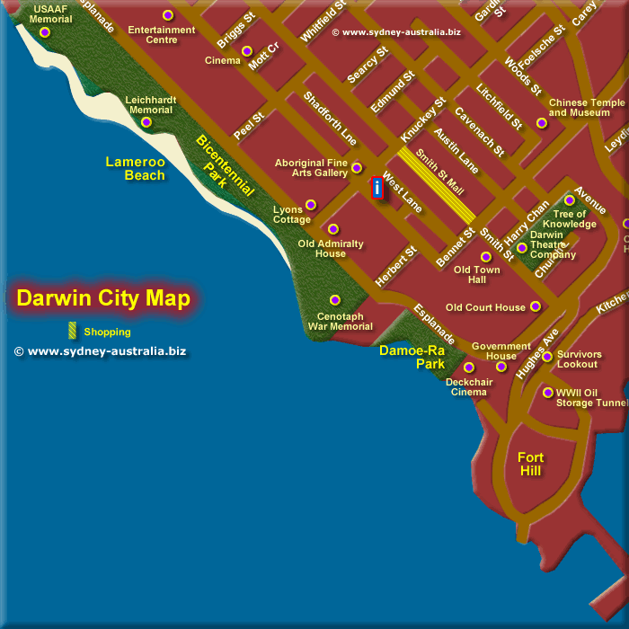 Map of Darwin City South West - Click to Zoom Out