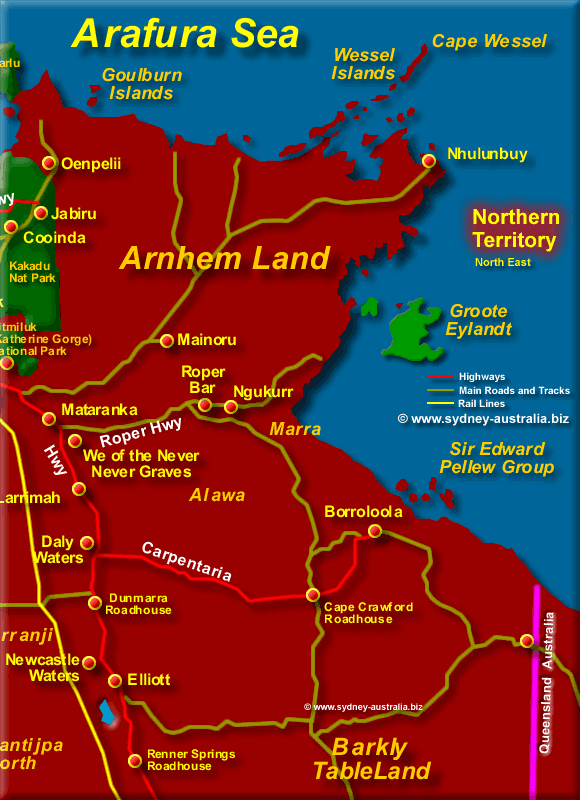 Map of the Northern Territory North East - Click to Zoom Out