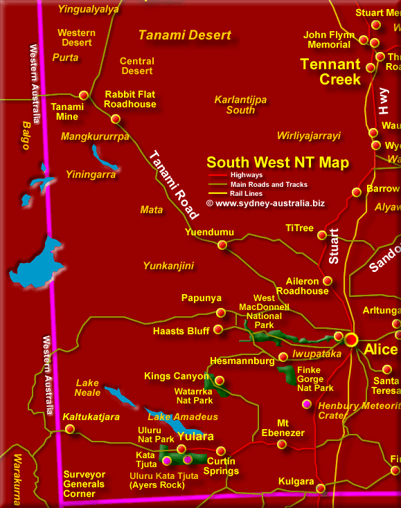 Map of the Northern Territory South West - Click to Zoom Out