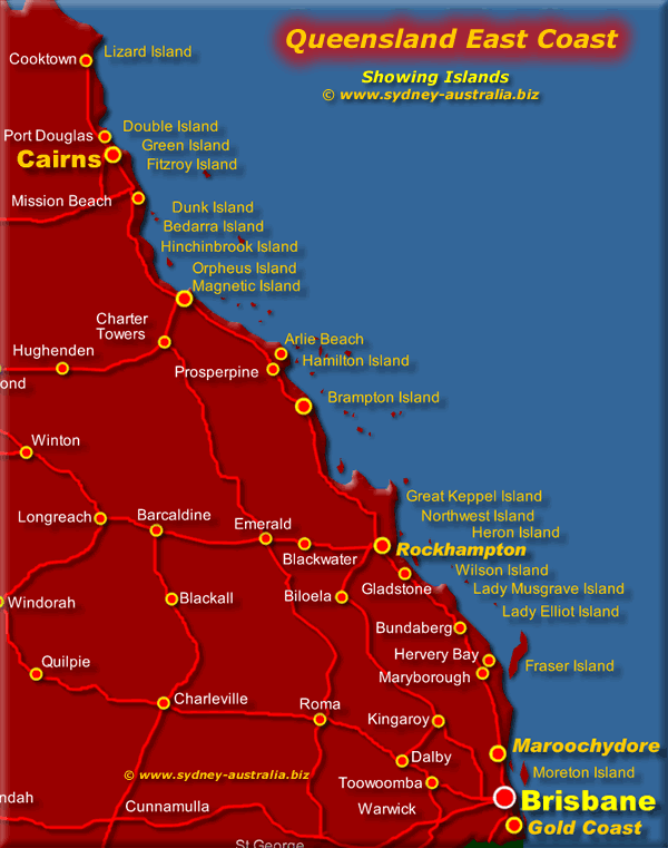 Queensland Map showing East Coast and Islands