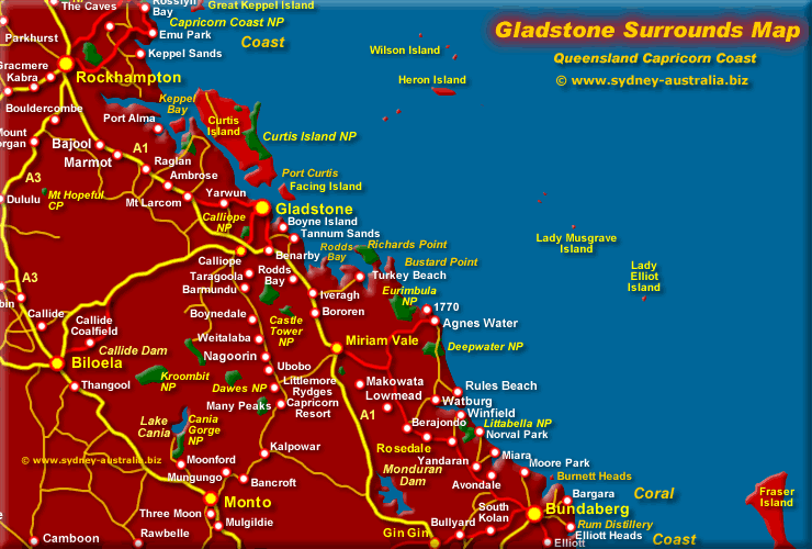 Gladstone Qld Map  Surrounds