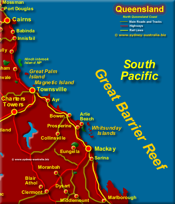 North East QLD Map  Coast of Queensland Australia